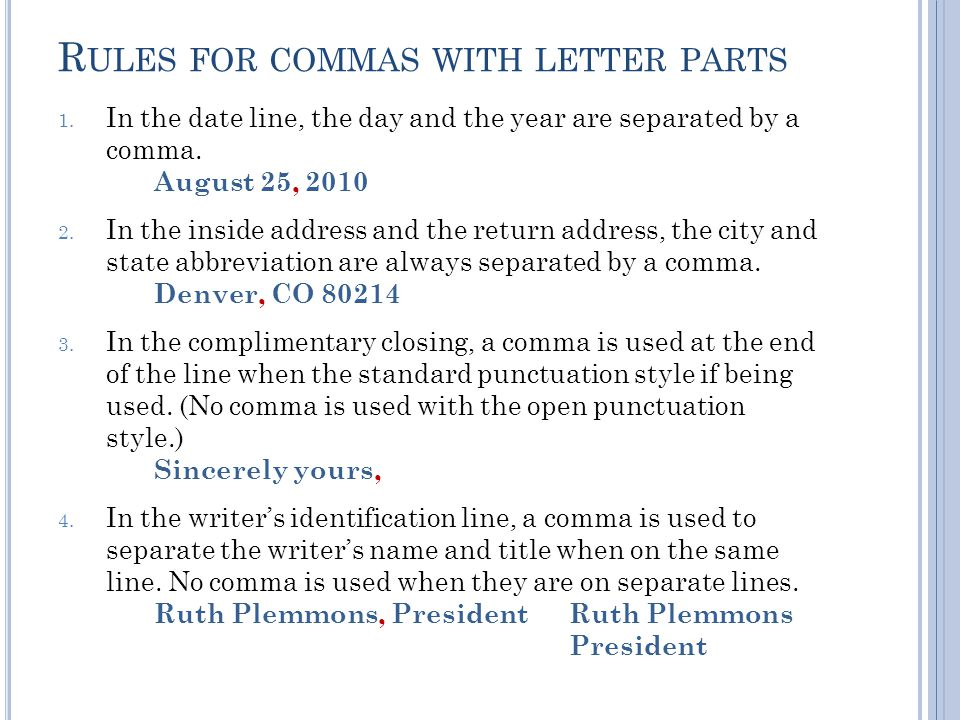 R ULES FOR COMMAS WITH LETTER PARTS 1.