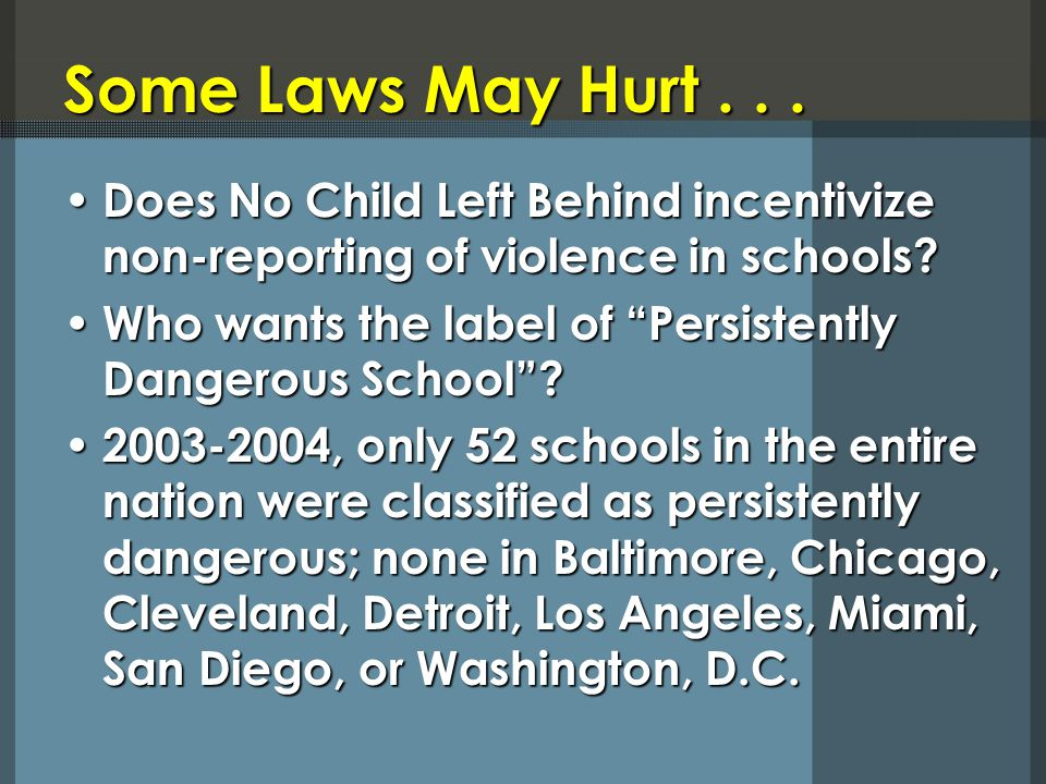 Some Laws May Hurt... Does No Child Left Behind incentivize non-reporting of violence in schools.