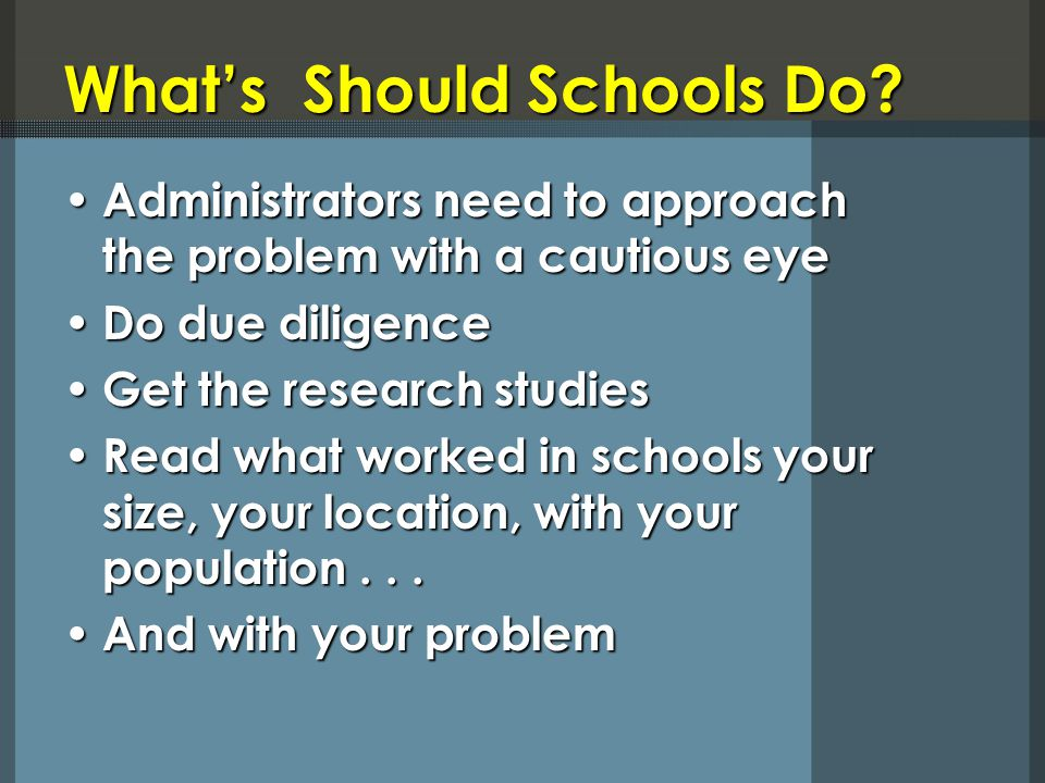 What's Should Schools Do.
