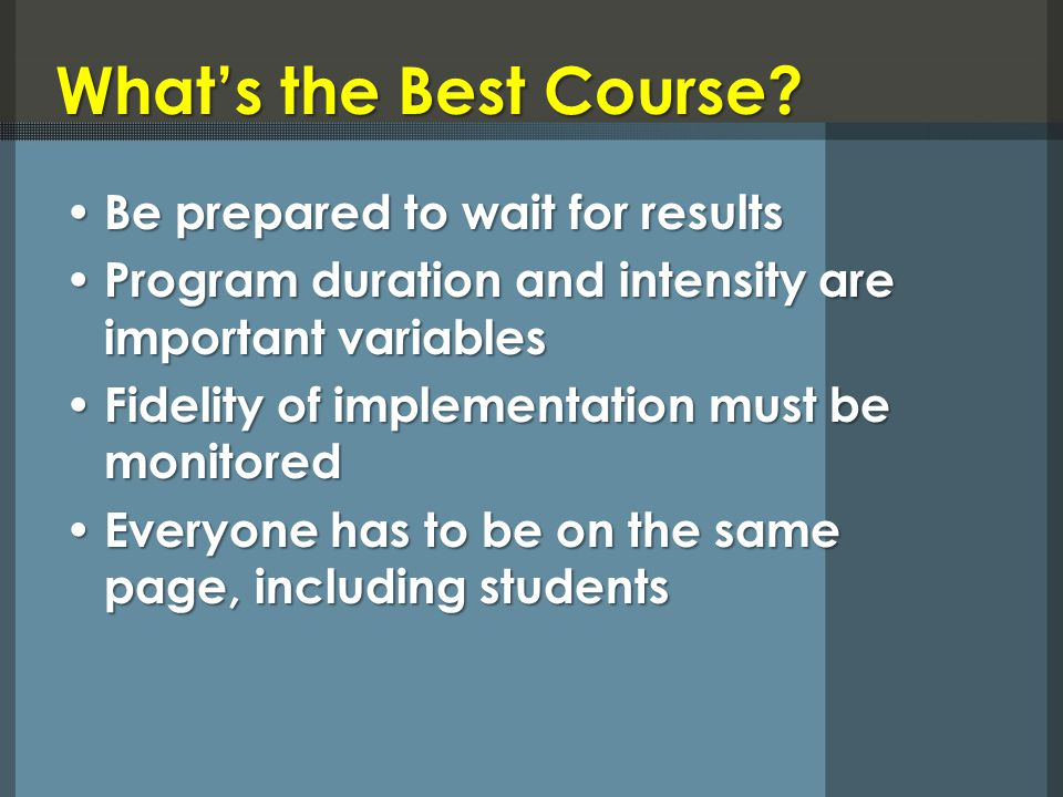 What's the Best Course.