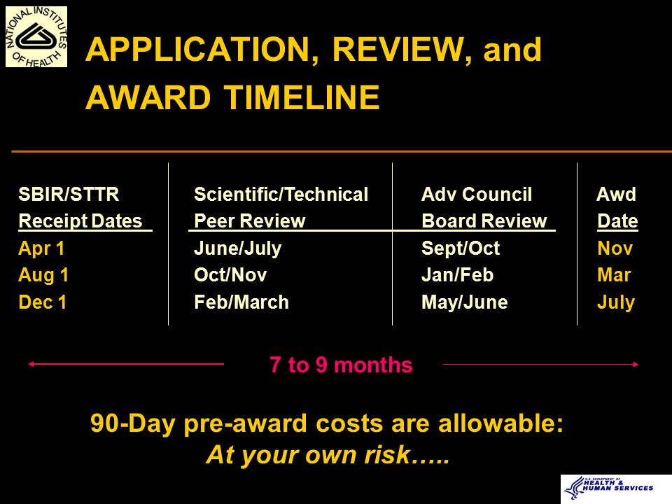Small Business Concern Applicant Initiates Research Idea Grantee Conducts Research IC Staff Prepare funding Plan for IC Director NIH Center for Scientific Review Assign to IC and IRG Scientific Review Groups Evaluate Scientific Merit Advisory Council or Board Recommend approval IC Allocates Funds Submits SBIR/STTR Grant Application to NIH ~2-3 months after submission ~2-3 months after review NIH SBIR/STTR PROGRAM NIH SBIR/STTR PROGRAM Review Process for Research Grant