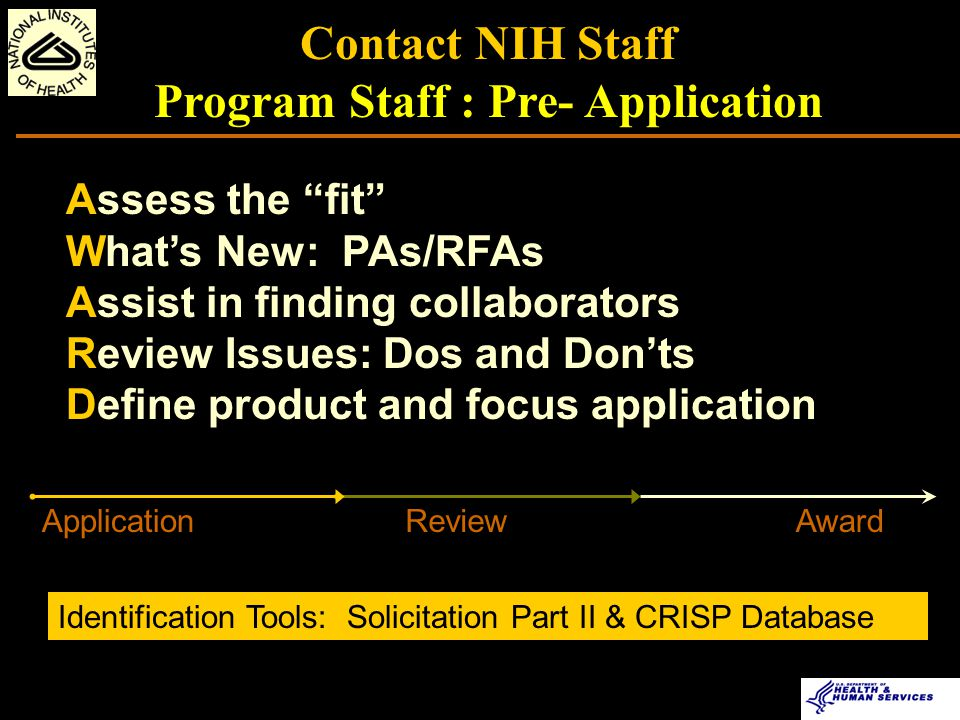 Key to the NIH Application, Review, and Award Process Communication Tips/Suggestions