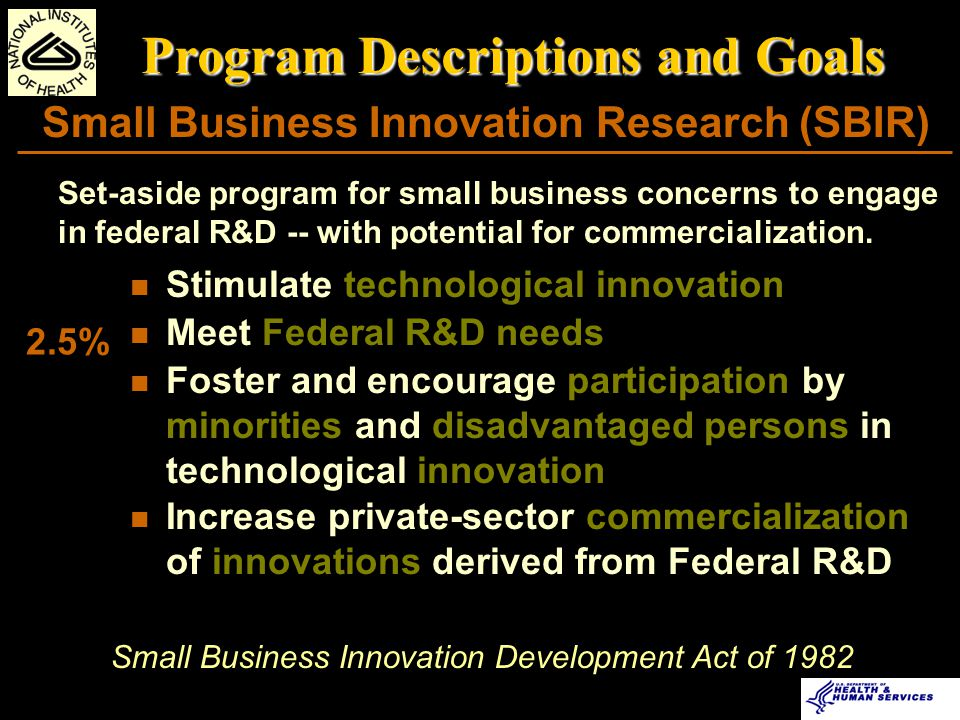 Small Business Innovation Research (SBIR) Program Descriptions and Goals 2.5% Stimulate technological innovation Meet Federal R&D needs Foster and encourage participation by minorities and disadvantaged persons in technological innovation Increase private-sector commercialization of innovations derived from Federal R&D Small Business Innovation Development Act of 1982 Set-aside program for small business concerns to engage in federal R&D -- with potential for commercialization.