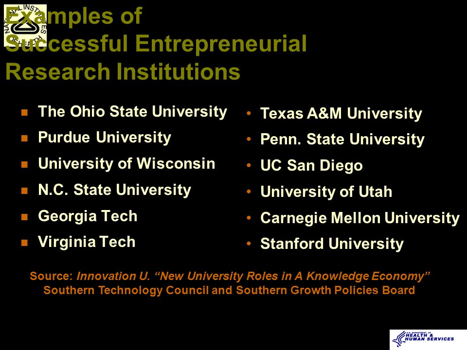 u Synergistic goals between faculty-initiated business and mission of research institution u Environment that enables innovation and entrepreneurship u Agreement on IP issues u Policies to manage, reduce or eliminate conflict of interest (COI) Entrepreneurial Research Institution Key Ingredients