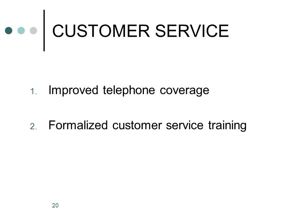 20 CUSTOMER SERVICE 1. Improved telephone coverage 2. Formalized customer service training