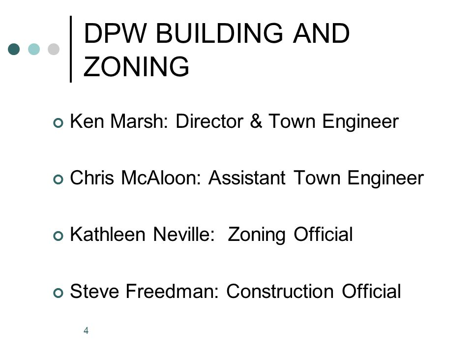 4 DPW BUILDING AND ZONING Ken Marsh: Director & Town Engineer Chris McAloon: Assistant Town Engineer Kathleen Neville: Zoning Official Steve Freedman: Construction Official