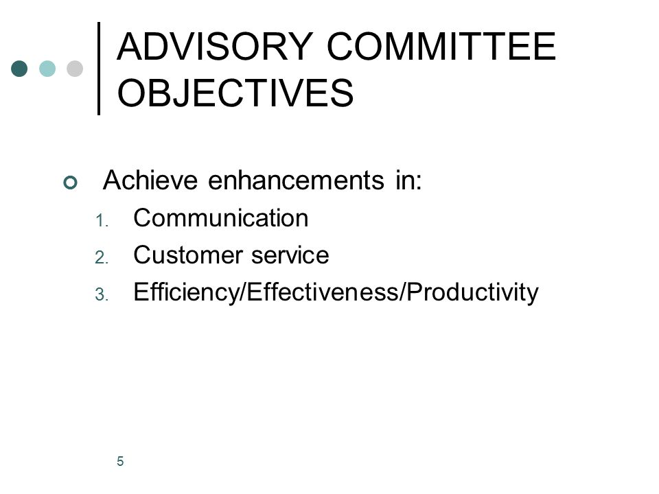 5 ADVISORY COMMITTEE OBJECTIVES Achieve enhancements in: 1.