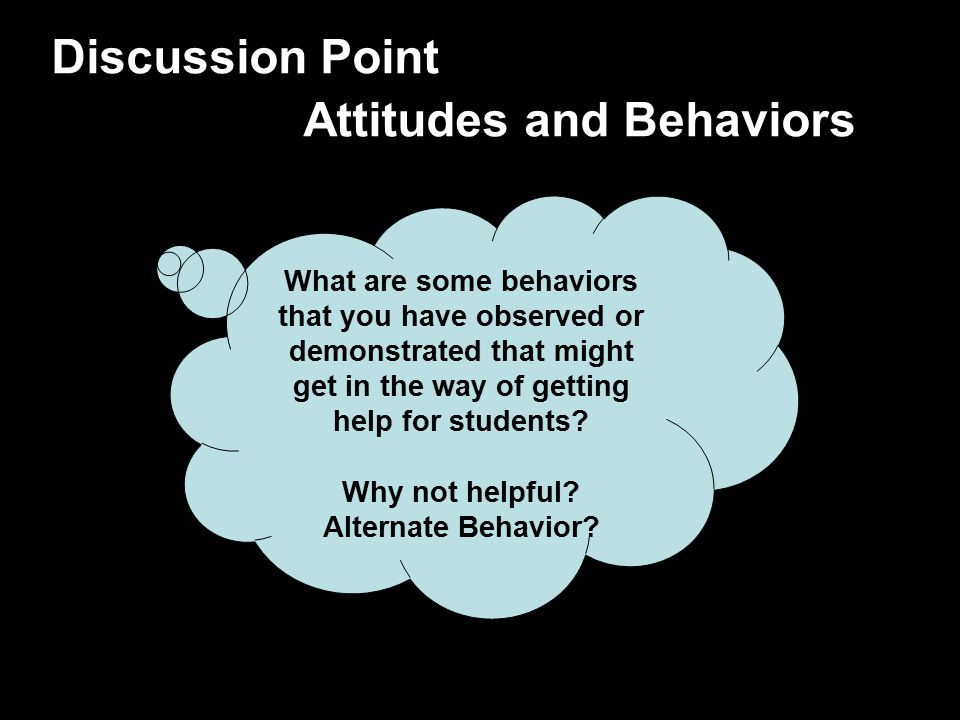 Discussion Point Attitudes and Behaviors What are some behaviors that you have observed or demonstrated that might get in the way of getting help for
