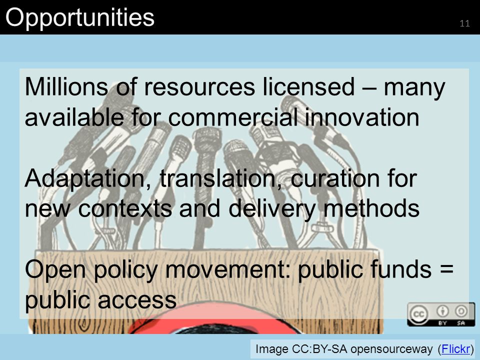 Opportunities 11 Image CC:BY-SA opensourceway (Flickr)Flickr Millions of resources licensed – many available for commercial innovation Adaptation, tra