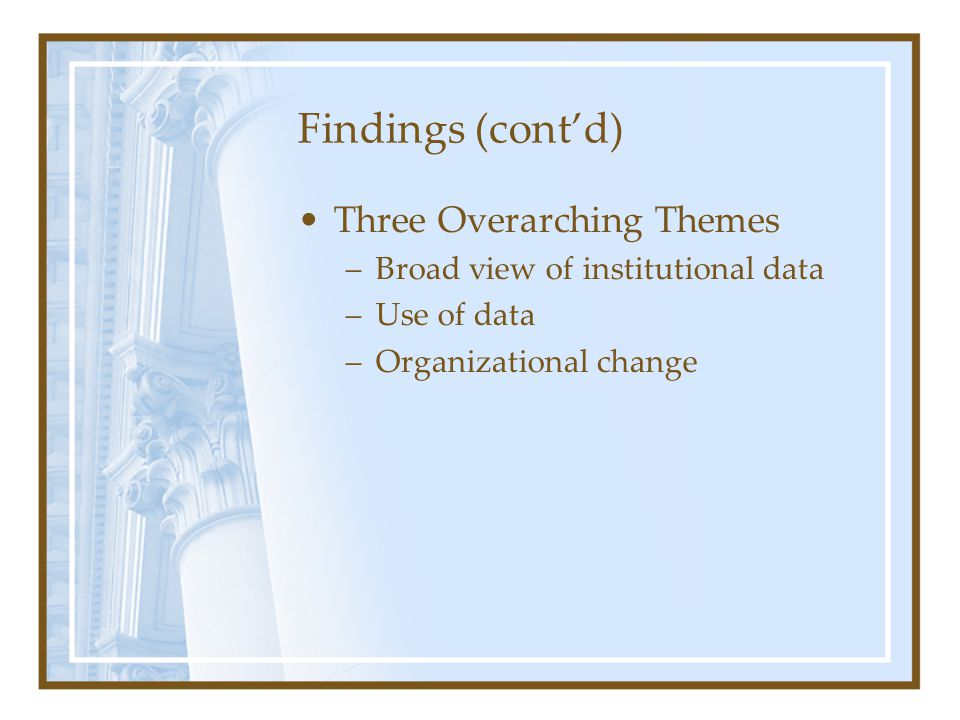Findings (cont'd) Three Overarching Themes –Broad view of institutional data –Use of data –Organizational change