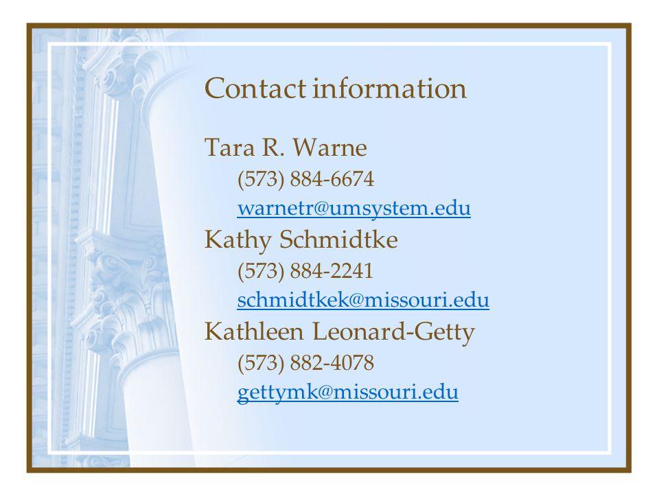 Contact information Tara R.