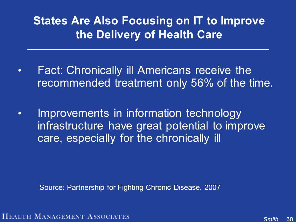 Smith30 States Are Also Focusing on IT to Improve the Delivery of Health Care Fact: Chronically ill Americans receive the recommended treatment only 56% of the time.