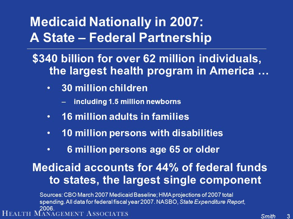 Smith3 Medicaid Nationally in 2007: A State – Federal Partnership $340 billion for over 62 million individuals, the largest health program in America … 30 million children –including 1.5 million newborns 16 million adults in families 10 million persons with disabilities 6 million persons age 65 or older Medicaid accounts for 44% of federal funds to states, the largest single component Sources: CBO March 2007 Medicaid Baseline; HMA projections of 2007 total spending.