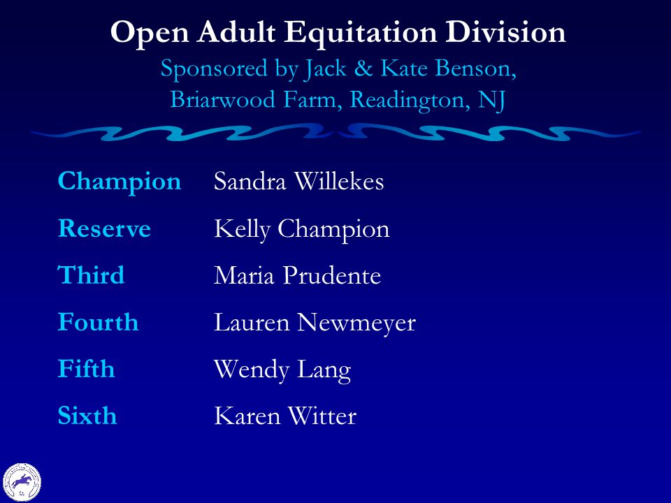 Champion Reserve Third Fourth Fifth Sixth Open Adult Equitation Division Sponsored by Jack & Kate Benson, Briarwood Farm, Readington, NJ Sandra Willekes Kelly Champion Maria Prudente Lauren Newmeyer Wendy Lang Karen Witter