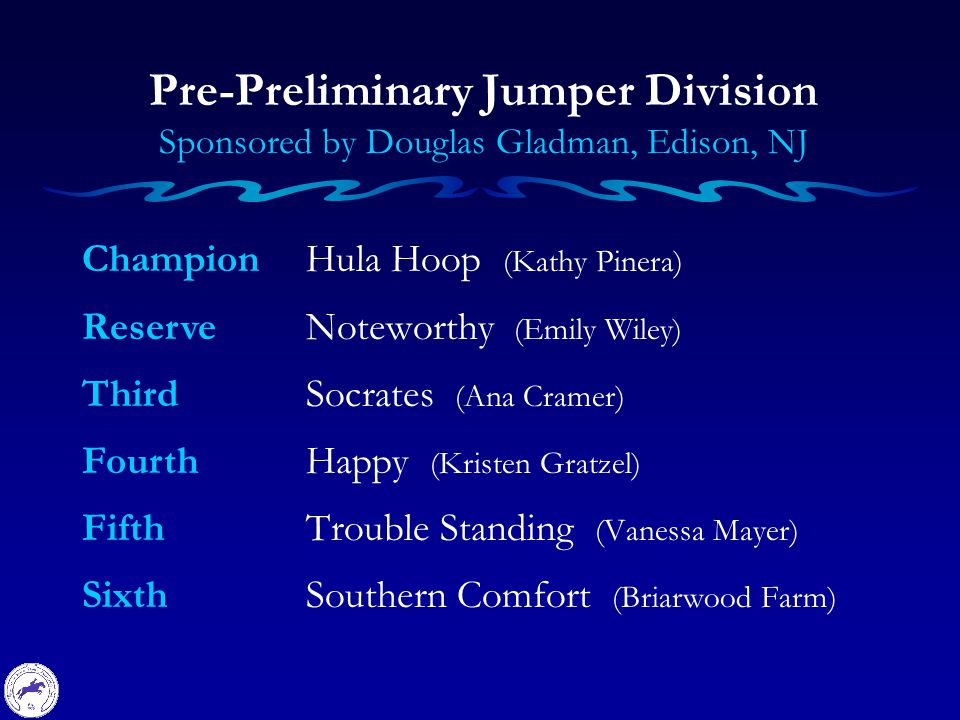 Champion Reserve Third Fourth Fifth Sixth Pre-Preliminary Jumper Division Sponsored by Douglas Gladman, Edison, NJ Hula Hoop (Kathy Pinera) Noteworthy (Emily Wiley) Socrates (Ana Cramer) Happy (Kristen Gratzel) Trouble Standing (Vanessa Mayer) Southern Comfort (Briarwood Farm)