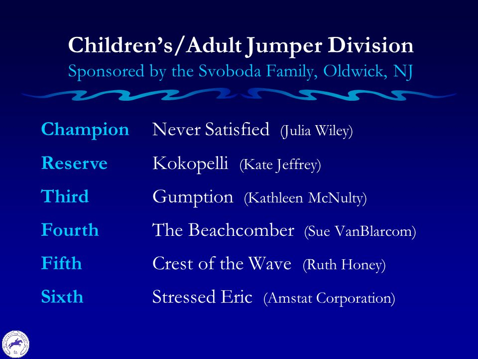 Champion Reserve Third Fourth Fifth Sixth Children's/Adult Jumper Division Sponsored by the Svoboda Family, Oldwick, NJ Never Satisfied (Julia Wiley) Kokopelli (Kate Jeffrey) Gumption (Kathleen McNulty) The Beachcomber (Sue VanBlarcom) Crest of the Wave (Ruth Honey) Stressed Eric (Amstat Corporation)