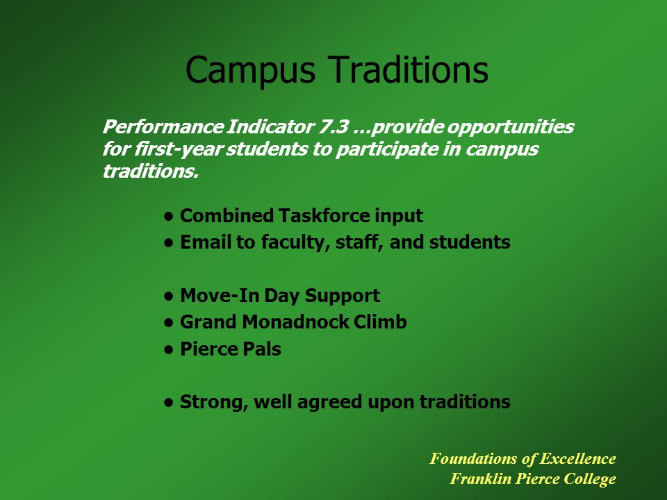 Campus Traditions Performance Indicator 7.3 …provide opportunities for first-year students to participate in campus traditions. Foundations of Excelle