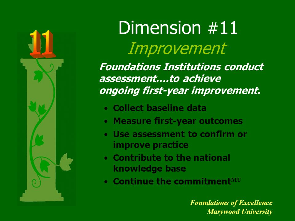 Dimension # 11 Improvement Collect baseline data Measure first-year outcomes Use assessment to confirm or improve practice Contribute to the national
