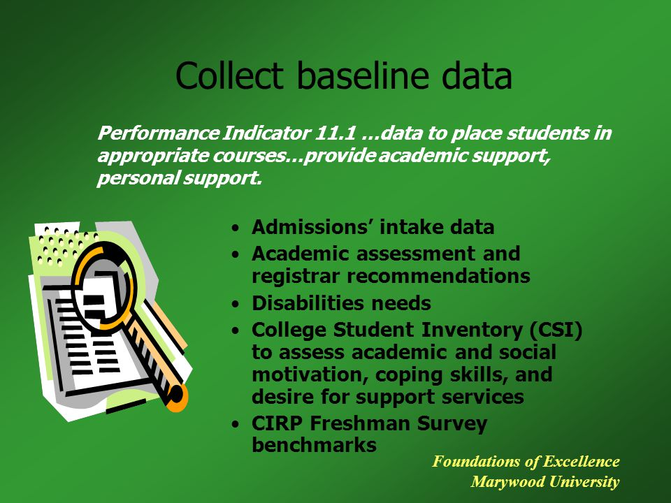 Collect baseline data Admissions' intake data Academic assessment and registrar recommendations Disabilities needs College Student Inventory (CSI) to