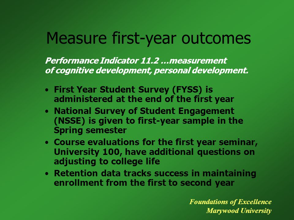 Measure first-year outcomes First Year Student Survey (FYSS) is administered at the end of the first year National Survey of Student Engagement (NSSE)