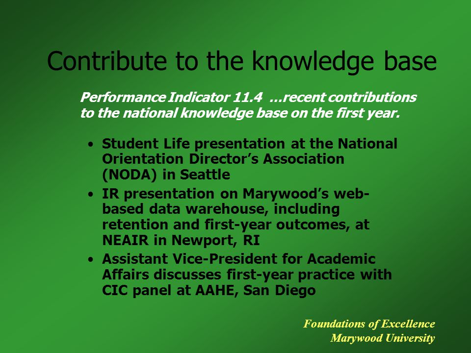 Contribute to the knowledge base Student Life presentation at the National Orientation Director's Association (NODA) in Seattle IR presentation on Marywood's web- based data warehouse, including retention and first-year outcomes, at NEAIR in Newport, RI Assistant Vice-President for Academic Affairs discusses first-year practice with CIC panel at AAHE, San Diego Performance Indicator 11.4 …recent contributions to the national knowledge base on the first year.