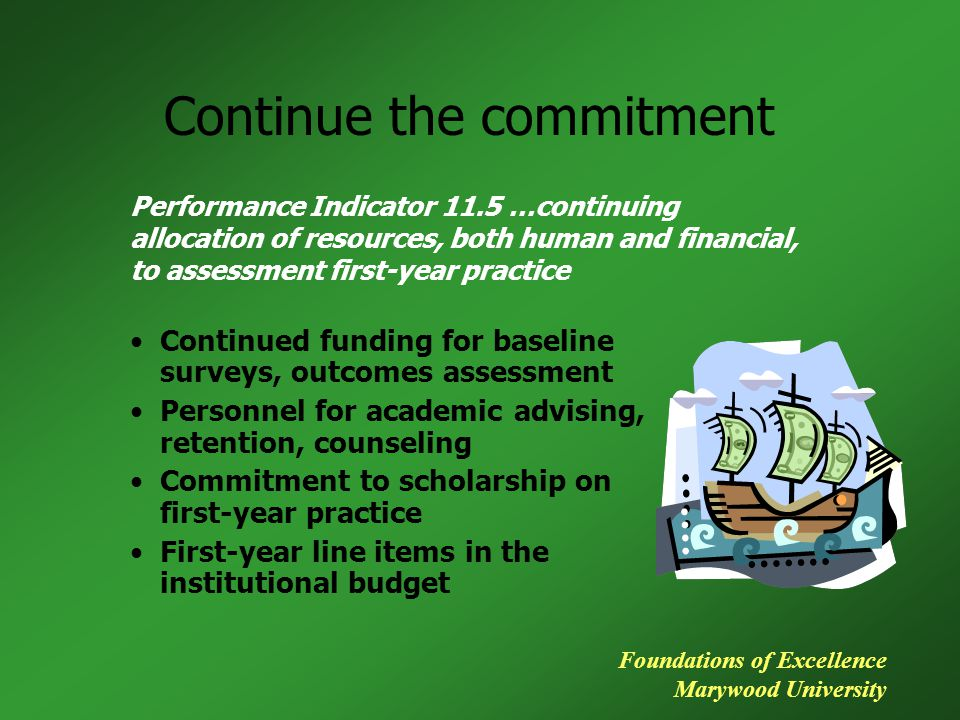 Continue the commitment Continued funding for baseline surveys, outcomes assessment Personnel for academic advising, retention, counseling Commitment to scholarship on first-year practice First-year line items in the institutional budget Performance Indicator 11.5 …continuing allocation of resources, both human and financial, to assessment first-year practice Foundations of Excellence Marywood University
