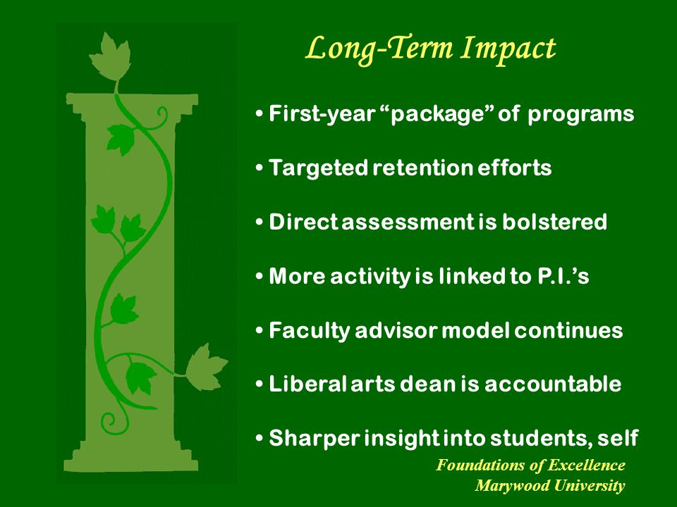 """Long-Term Impact First-year """"package"""" of programs Targeted retention efforts Direct assessment is bolstered More activity is linked to P.I.'s Faculty"""