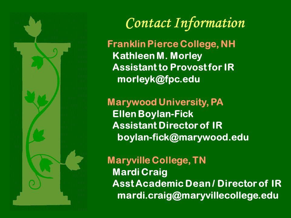 Contact Information Franklin Pierce College, NH Kathleen M. Morley Assistant to Provost for IR morleyk@fpc.edu Marywood University, PA Ellen Boylan-Fi