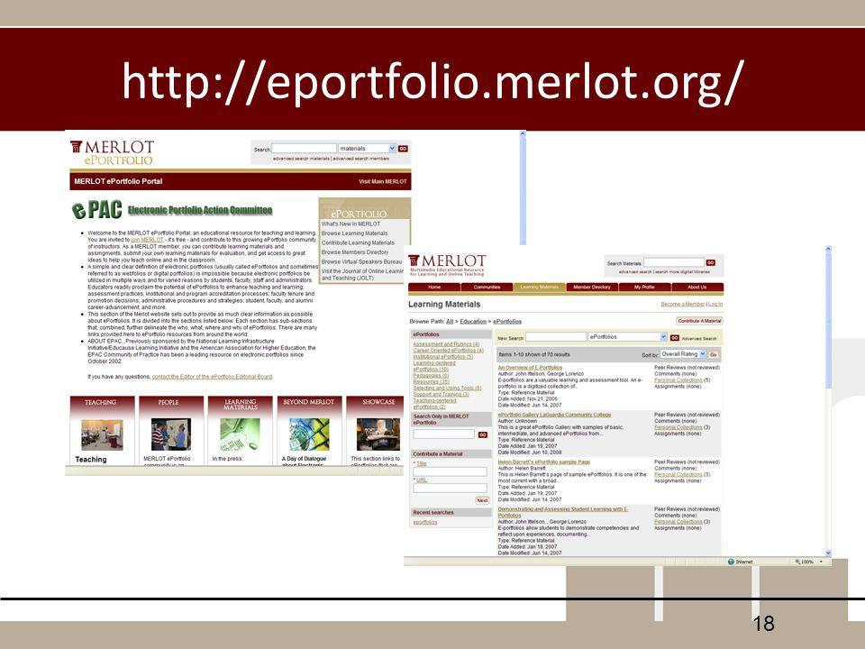 http://eportfolio.merlot.org/ 18