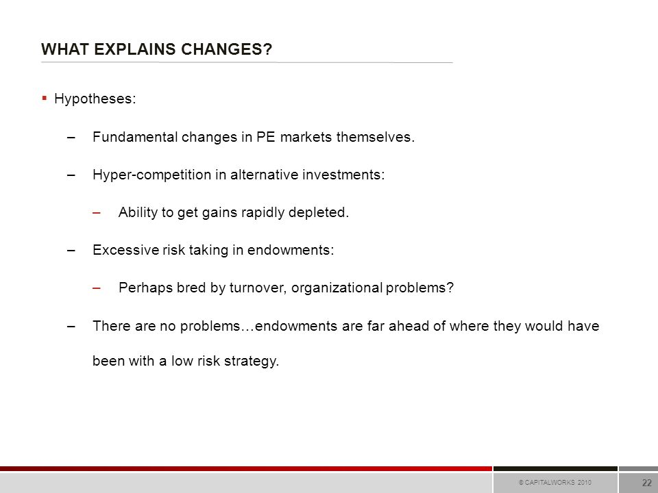 WHAT EXPLAINS CHANGES? © CAPITALWORKS 2010 22  Hypotheses: –Fundamental changes in PE markets themselves. –Hyper-competition in alternative investmen