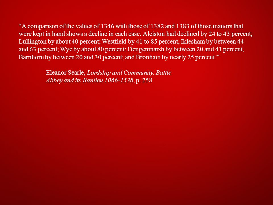 A comparison of the values of 1346 with those of 1382 and 1383 of those manors that were kept in hand shows a decline in each case: Alciston had declined by 24 to 43 percent; Lullington by about 40 percent; Westfield by 41 to 85 percent, Iklesham by between 44 and 63 percent; Wye by about 80 percent; Dengenmarsh by between 20 and 41 percent, Barnhorn by between 20 and 30 percent; and Bronham by nearly 25 percent. Eleanor Searle, Lordship and Community.