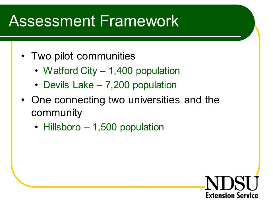 Assessment Framework Two pilot communities Watford City – 1,400 population Devils Lake – 7,200 population One connecting two universities and the community Hillsboro – 1,500 population