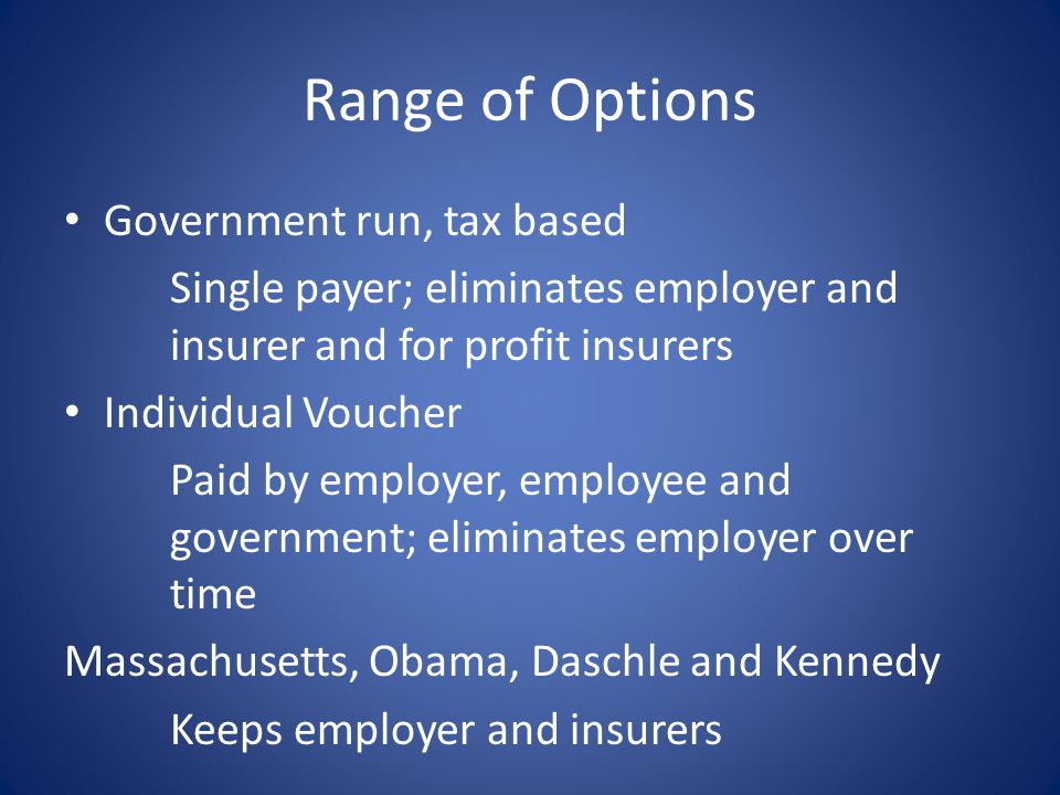 Range of Options Government run, tax based Single payer; eliminates employer and insurer and for profit insurers Individual Voucher Paid by employer,