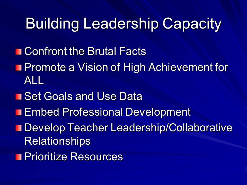Building Leadership Capacity Confront the Brutal Facts Promote a Vision of High Achievement for ALL Set Goals and Use Data Embed Professional Development Develop Teacher Leadership/Collaborative Relationships Prioritize Resources
