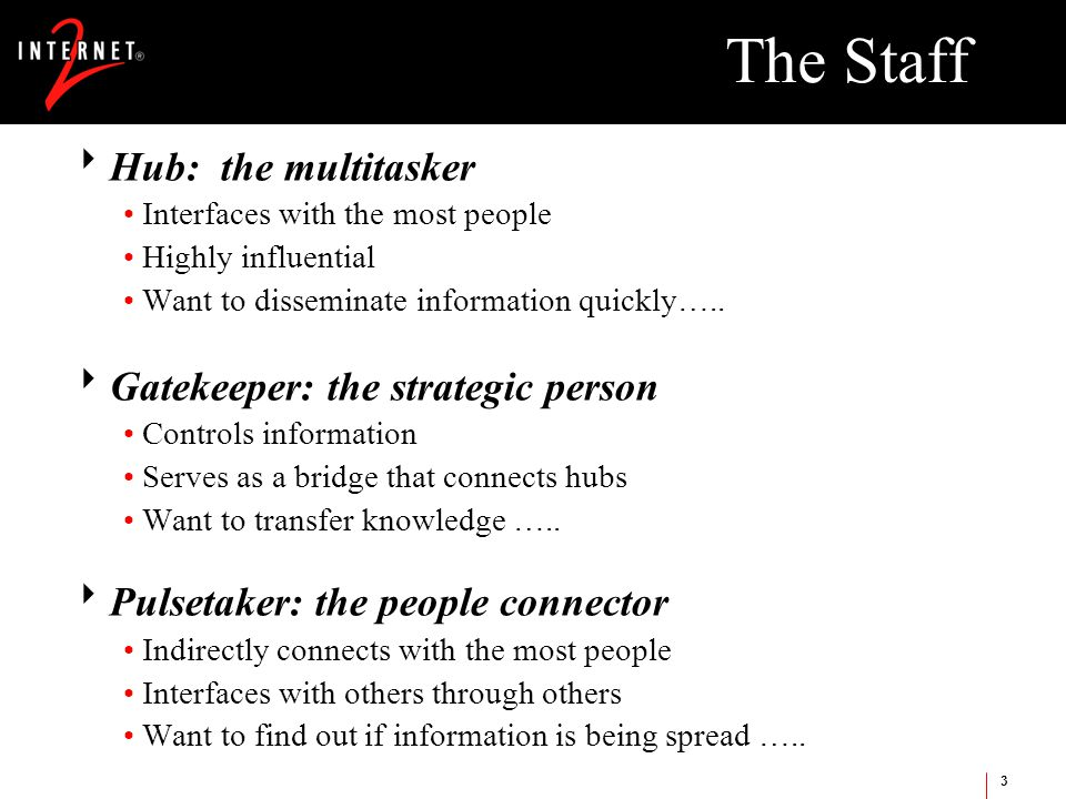 3 The Staff  Hub: the multitasker Interfaces with the most people Highly influential Want to disseminate information quickly…..