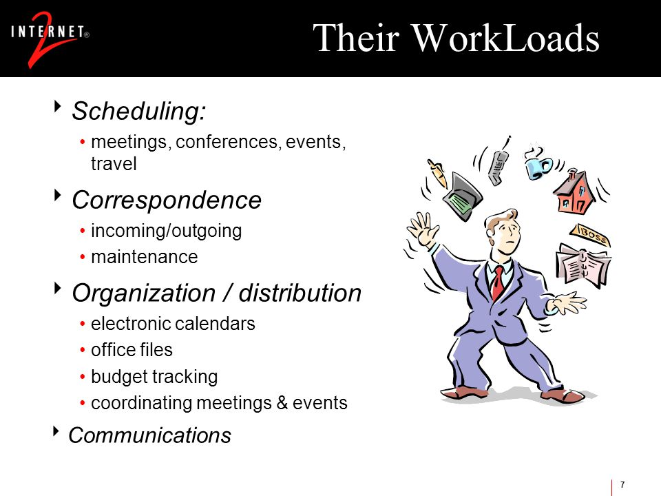 7 Their WorkLoads  Scheduling: meetings, conferences, events, travel  Correspondence incoming/outgoing maintenance  Organization / distribution electronic calendars office files budget tracking coordinating meetings & events  Communications