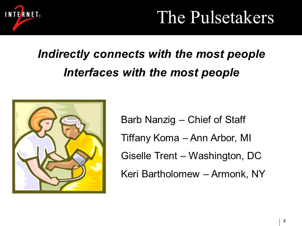 8 The Pulsetakers Indirectly connects with the most people Interfaces with the most people Barb Nanzig – Chief of Staff Tiffany Koma – Ann Arbor, MI Giselle Trent – Washington, DC Keri Bartholomew – Armonk, NY