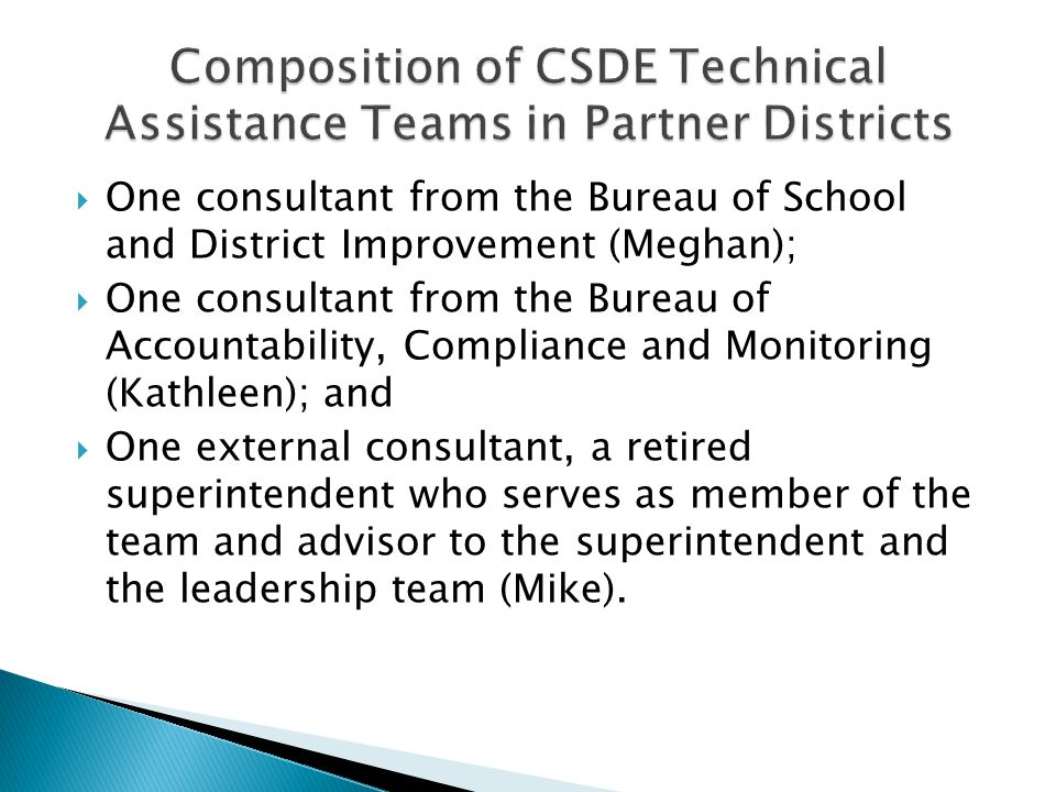  One consultant from the Bureau of School and District Improvement (Meghan);  One consultant from the Bureau of Accountability, Compliance and Monit