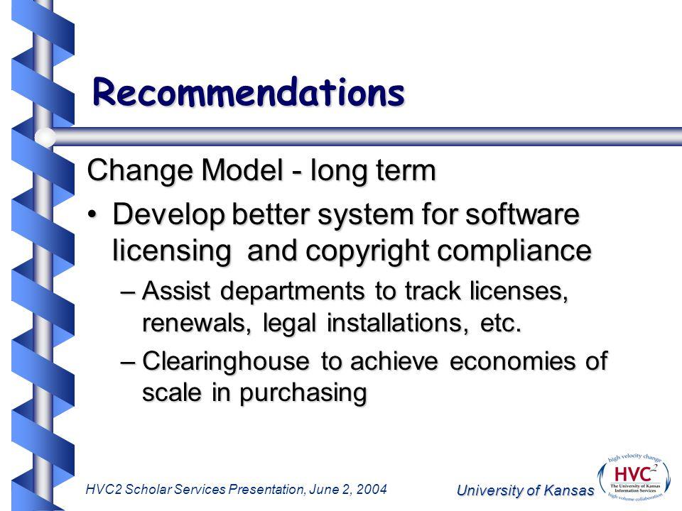 University of Kansas HVC2 Scholar Services Presentation, June 2, 2004 Recommendations Change Model - long term Develop better system for software lice