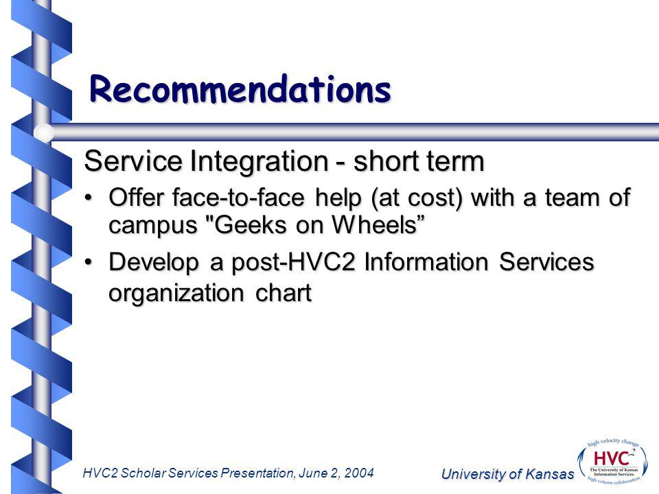 University of Kansas HVC2 Scholar Services Presentation, June 2, 2004 Recommendations Service Integration - short term Offer face-to-face help (at cos