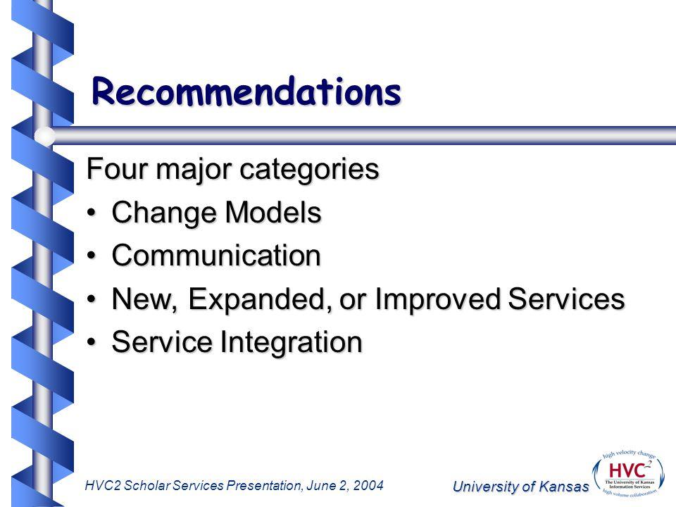 University of Kansas HVC2 Scholar Services Presentation, June 2, 2004 Recommendations Four major categories Change ModelsChange Models CommunicationCommunication New, Expanded, or Improved ServicesNew, Expanded, or Improved Services Service IntegrationService Integration