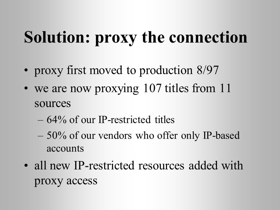 Solution: proxy the connection proxy first moved to production 8/97 we are now proxying 107 titles from 11 sources –64% of our IP-restricted titles –50% of our vendors who offer only IP-based accounts all new IP-restricted resources added with proxy access