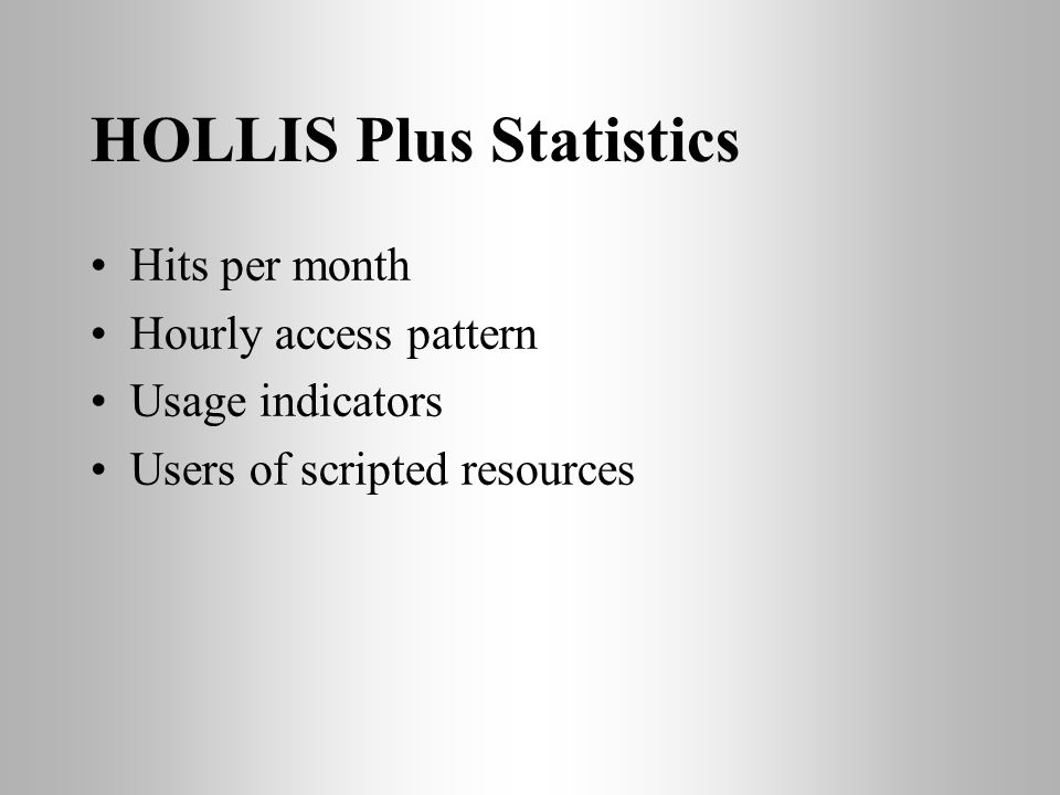 HOLLIS Plus Statistics Hits per month Hourly access pattern Usage indicators Users of scripted resources
