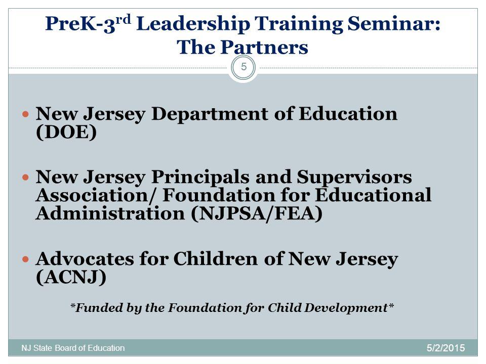PreK-3 rd Leadership Training Seminar: The Partners 5/2/2015 NJ State Board of Education 5 New Jersey Department of Education (DOE) New Jersey Princip