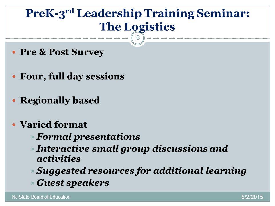 PreK-3 rd Leadership Training Seminar: The Logistics 5/2/2015 NJ State Board of Education 6 Pre & Post Survey Four, full day sessions Regionally based