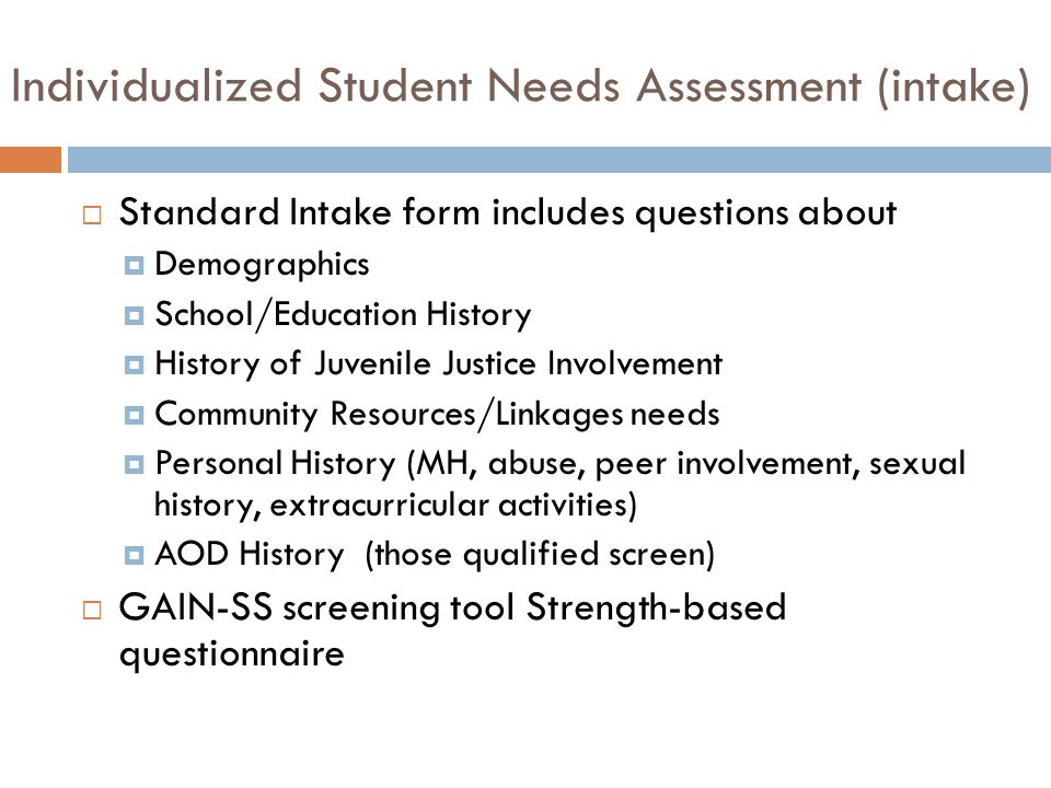 Individualized Student Needs Assessment (intake)  Standard Intake form includes questions about  Demographics  School/Education History  History of Juvenile Justice Involvement  Community Resources/Linkages needs  Personal History (MH, abuse, peer involvement, sexual history, extracurricular activities)  AOD History (those qualified screen)  GAIN-SS screening tool Strength-based questionnaire