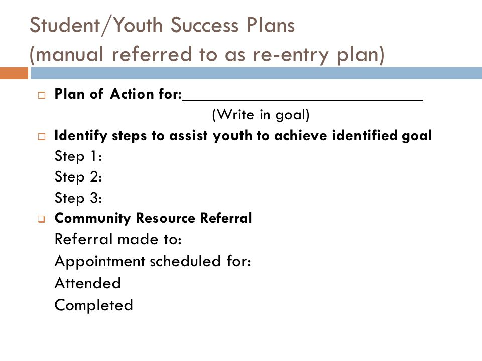 Student/Youth Success Plans (manual referred to as re-entry plan)  Plan of Action for: (Write in goal)  Identify steps to assist youth to achieve identified goal Step 1: Step 2: Step 3:  Community Resource Referral Referral made to: Appointment scheduled for: Attended Completed