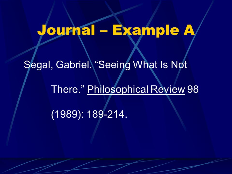 Journal – Example A Segal, Gabriel.