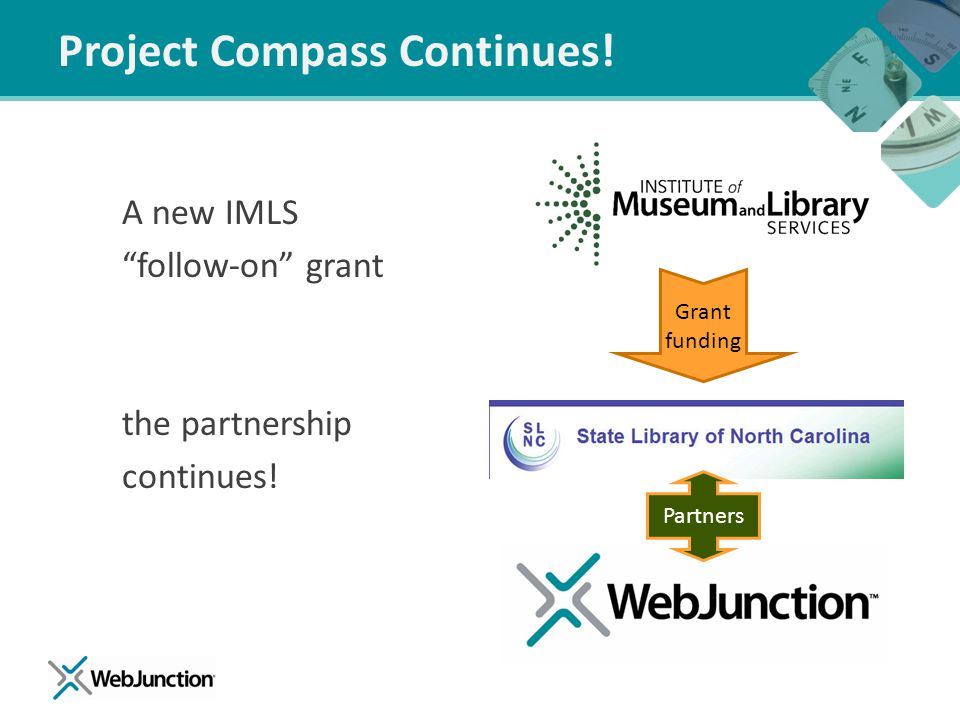 "Project Compass Continues! A new IMLS ""follow-on"" grant the partnership continues! Grant funding Partners"