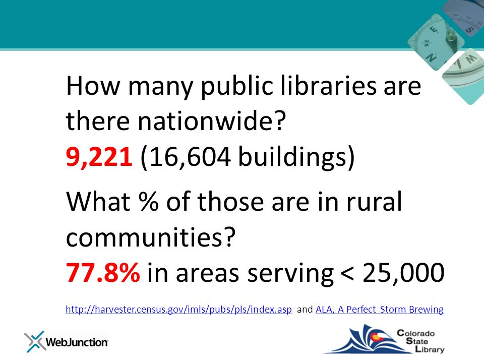 How many public libraries are there nationwide? 9,221 (16,604 buildings) What % of those are in rural communities? 77.8% in areas serving < 25,000 htt